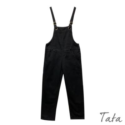 鬆緊拉環牛仔吊帶褲 TATA-(S~L)