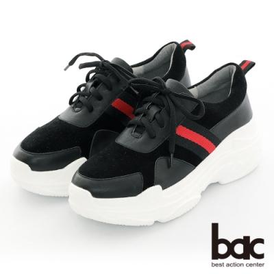 【bac】復古風潮布標點綴綁帶厚底台休閒老爹鞋-黑