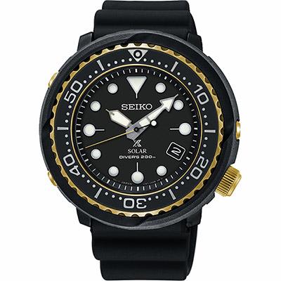 SEIKO精工 PROSPEX SCUBA 太陽能200米潛水錶-金圈x黑/46.7mm