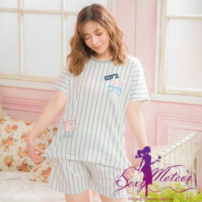 睡衣 全尺碼 直紋兔子牛奶絲短袖二件式睡衣組(藍灰條) Sexy Meteor