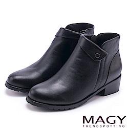MAGY 簡約時髦 復古反折鉚釘牛皮短靴-黑色