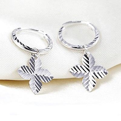米蘭精品 925純銀耳環-亮面條紋四葉草耳環