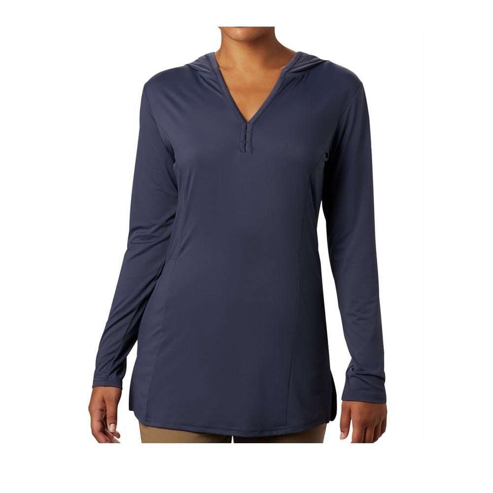 Columbia 哥倫比亞 女款- 涼感防曬50長版長袖連帽排汗衫 深藍 UAK14390NY
