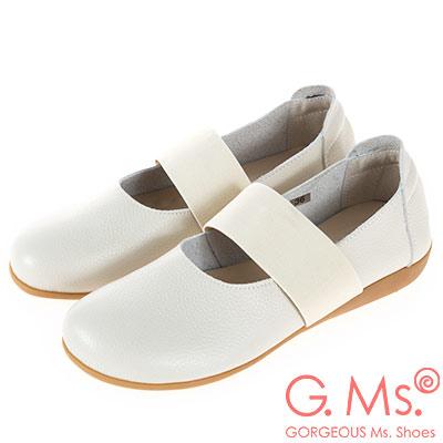 G.Ms. MIT系列-牛皮鬆緊帶圓頭平底休閒鞋-米白