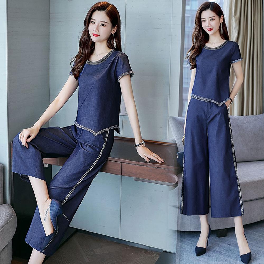 時尚氣質條紋闊腿褲套裝M-2XL(共二色)SZ