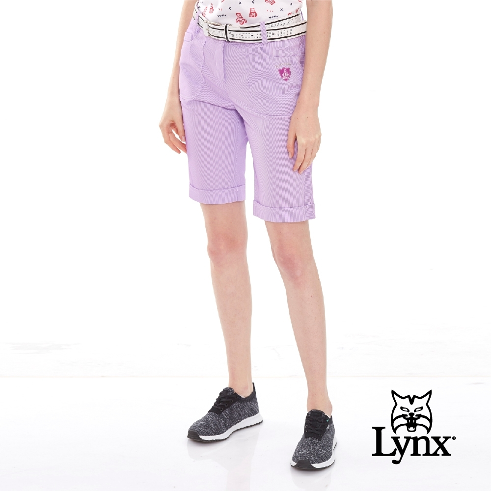 【Lynx Golf】女款防濕排汗抗UV日本進口布料運動五分褲-粉紫色