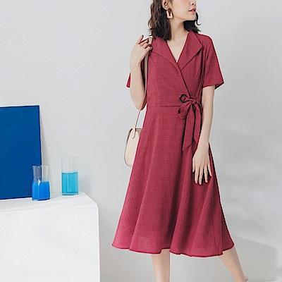 純色不易皺綁帶設計V領洋裝-OB大尺碼