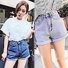 高腰捲邊純色牛仔短褲-共2色(M-XL可選)     NUMI  森