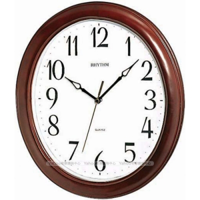 RHYTHM日本麗聲 簡單設計清晰大字宜家裝飾實木靜音掛鐘/33cm