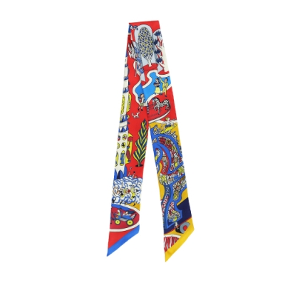 HERMES Exposition Universelle 世界博覽會 Twilly 絲巾(黃/藍/紅)
