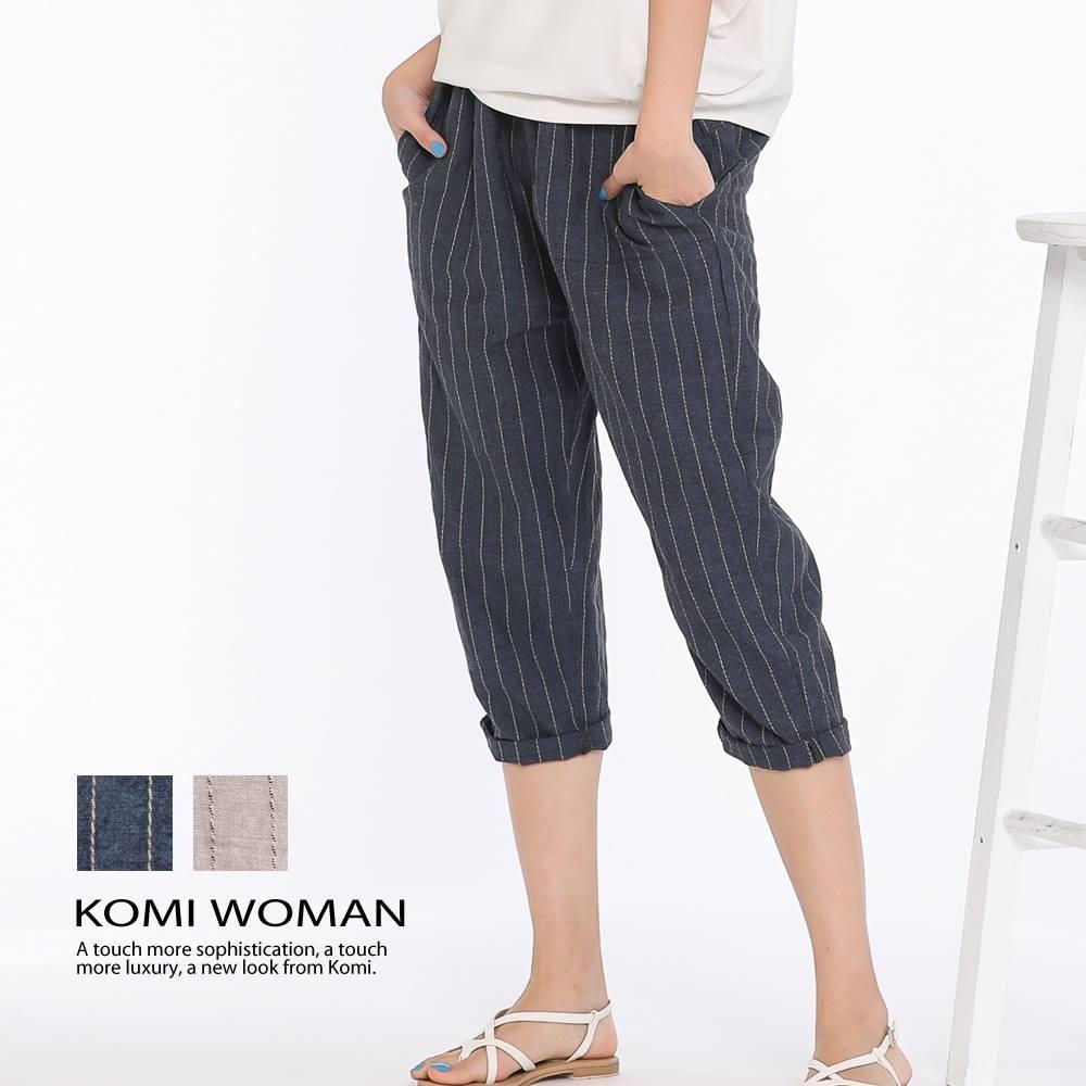 【KOMI】棉麻條紋鬆緊老爺褲‧二色