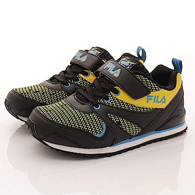 零碼-20cm FILA頂級童鞋 彈力針織運動款 828R-093黑黃