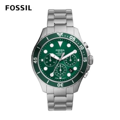 FOSSIL FB - 03 三眼計時綠鏡潛水男錶 銀色不鏽鋼錶帶 46MM FS5726