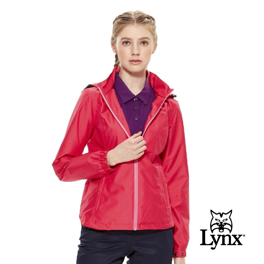 【Lynx Golf】女款防風防水透濕立領可拆式帽子長袖外套-桃紅色