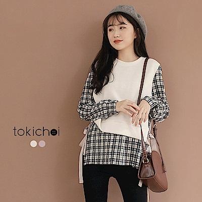 東京著衣 學院風格紋拼素色背心假兩件式長版上衣-S.M(共二色)