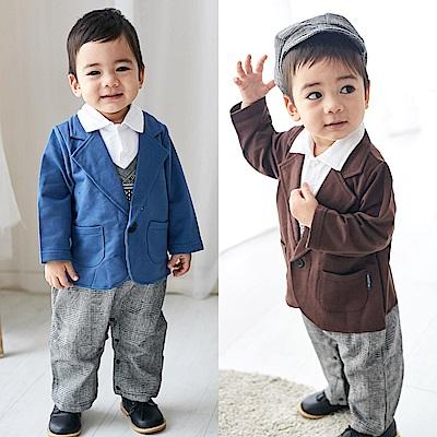 baby童衣 假四件紳士造型連身衣附帽子 82048