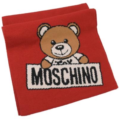 MOSCHINO 針織小熊圖樣羊毛圍巾(紅)