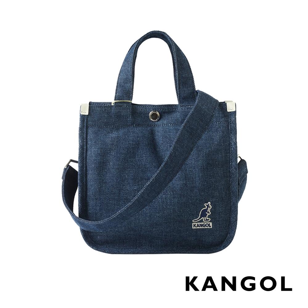 KANGOL 韓版極簡玩色-MINI牛仔斜背小方包-深藍AKG1215