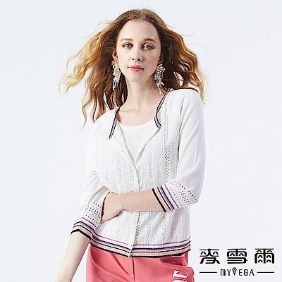 【麥雪爾】鏤空織紋假兩件針織外套