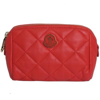 MONCLER 品牌立體LOGO菱格紋小牛皮化妝包(紅色)