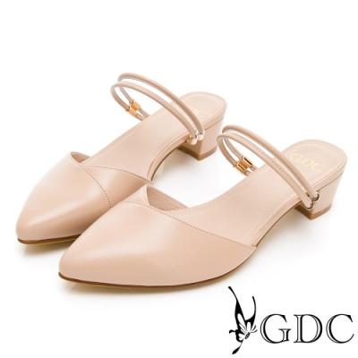 GDC-2WAY真皮小清新V型剪裁素色尖頭繞帶涼鞋-裸色