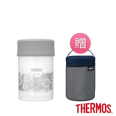 THERMOS膳魔師不鏽鋼真空食物燜燒罐0.5L JBN-500-HA典雅蕾絲