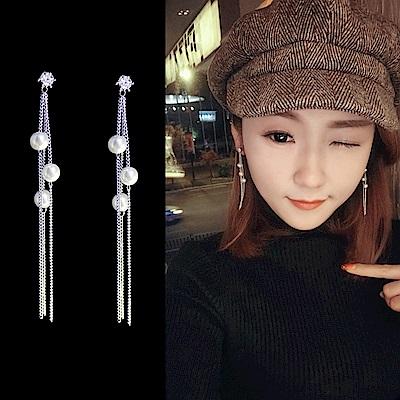 梨花HaNA  韓國925銀晶瑩珍珠三顆質感長耳環