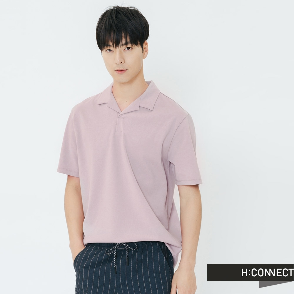 H:CONNECT 韓國品牌 男裝-簡約翻領短袖襯衫-卡其