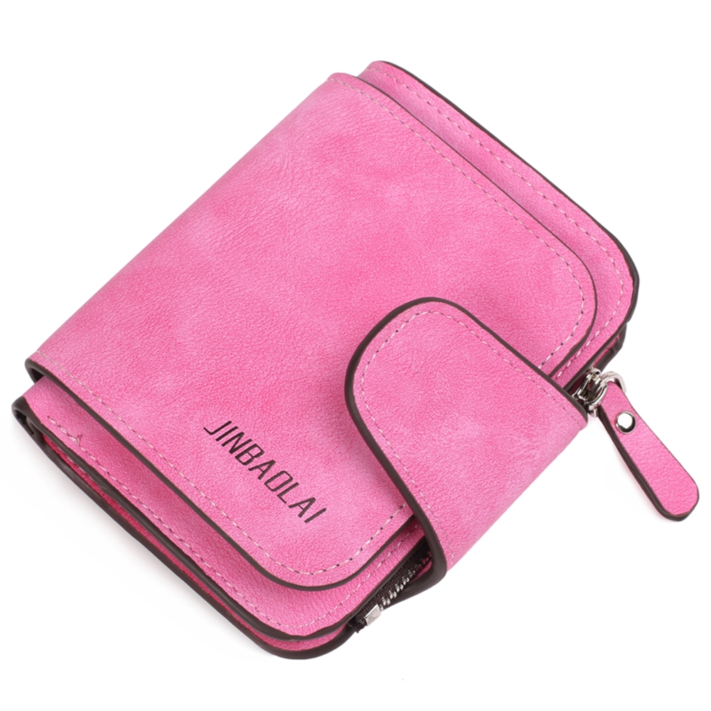 JINBAOLAI GT3302PI韓版磨砂皮拉鍊搭扣女士錢包皮夾粉色