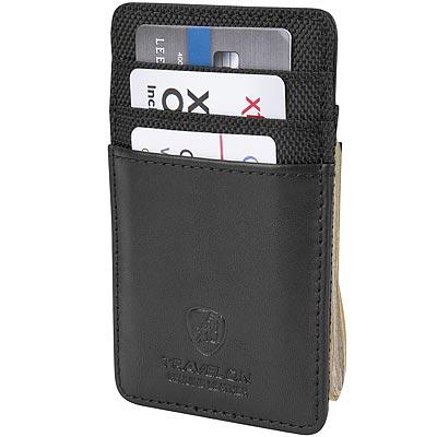 《TRAVELON》網拼防護鈔票RFID證件夾(黑)