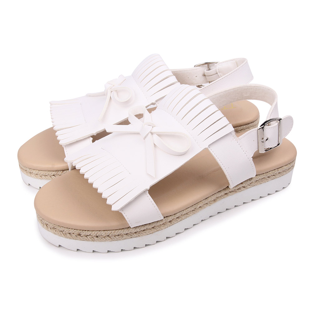 TTSNAP涼鞋-休閒流蘇雙層厚底涼鞋 白