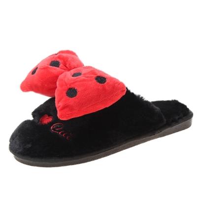 KEITH-WILL時尚鞋館 冬暖甜心室內拖鞋-黑色