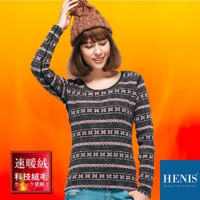 HENIS 禦寒時裳 速暖羽式絨毛發熱衣 印花圓領 (咖啡底雪花點點)