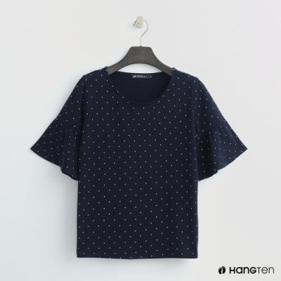 Hang Ten-女裝-荷葉袖圓點造型上衣-藍