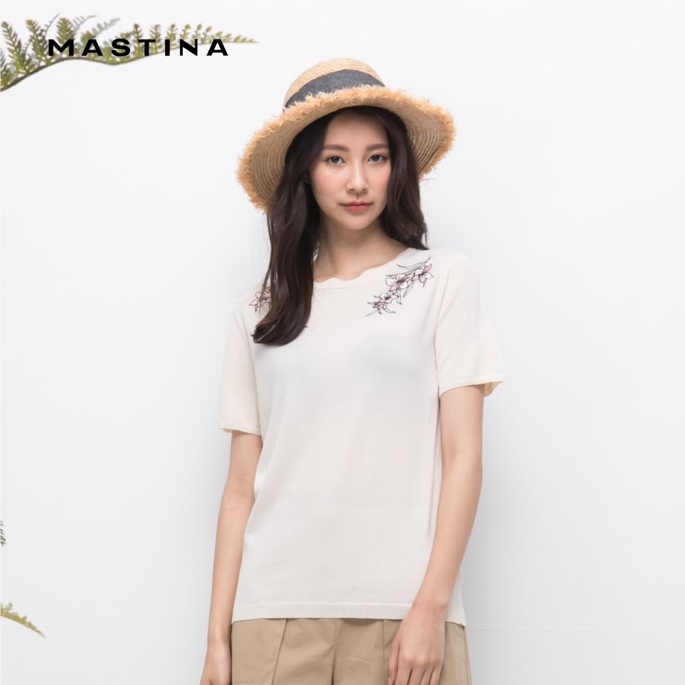 【MASTINA】素色波浪領刺繡短袖-針織衫(三色)