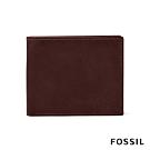 FOSSIL DERRICK LOGO壓印附零錢收納皮夾-勃艮第紅 ML4154014