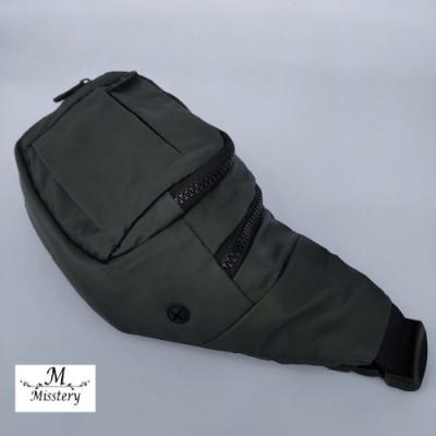 【Misstery】腰包熱壓PU面料休閒旅遊腰包-墨綠