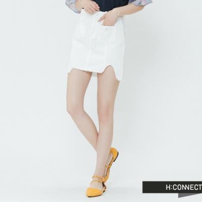 H:CONNECT 韓國品牌 女裝-雙口袋不收邊短裙-白