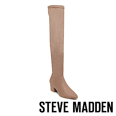 STEVE MADDEN-TERESA摩登款粗跟過膝套靴-絨棕