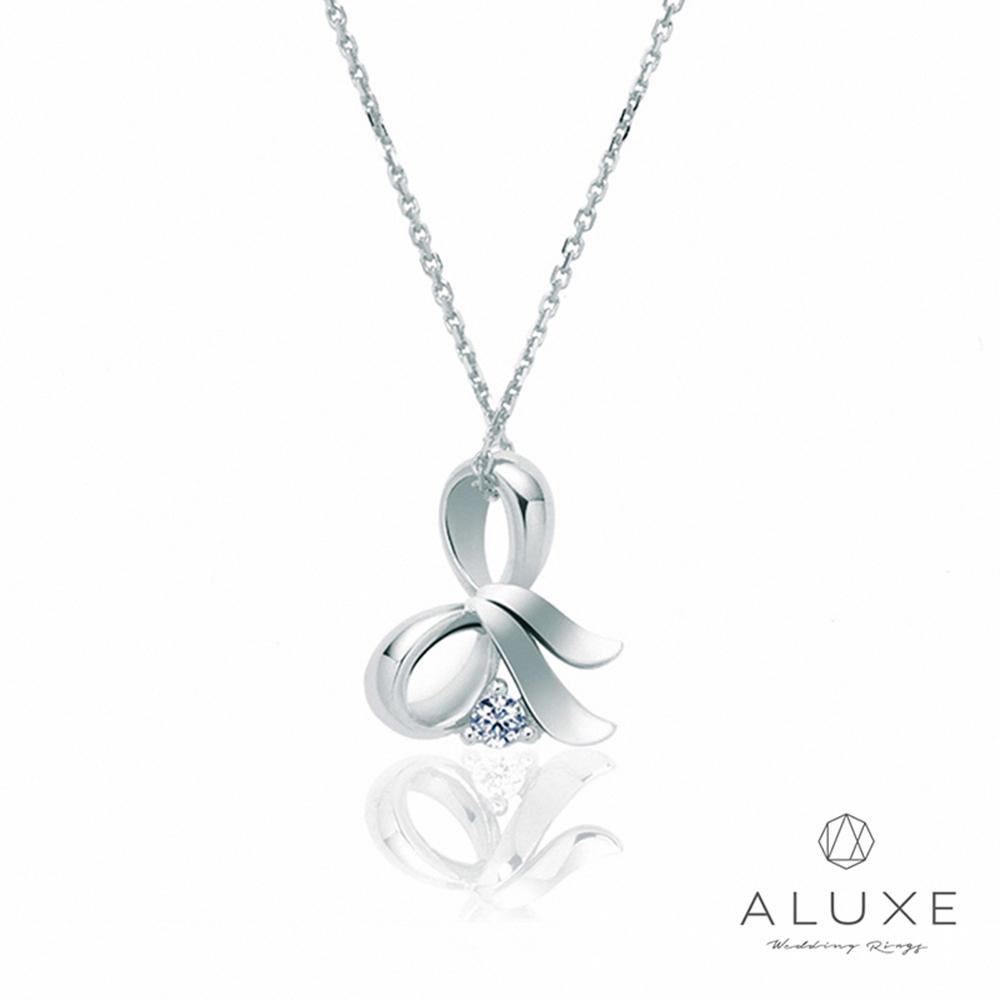 ALUXE亞立詩 Gifts系列 蝴蝶結 白K金美鑽項鍊