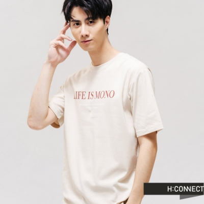 H:CONNECT 韓國品牌 男裝 -質感文字圓領T-shirt-卡其