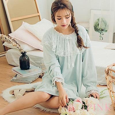 i PINK 浪漫宮廷 保暖海島绒洋裝居家服睡衣(藍)