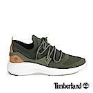 Timberland 男款深綠色粒面皮革針織淺口鞋