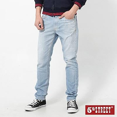 5th STREET 粗矌窄直筒伸縮牛仔褲-男-漂淺藍