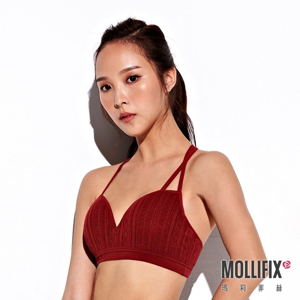 Mollifix 瑪莉菲絲 A++交錯雙肩帶美胸BRA (酒紅)
