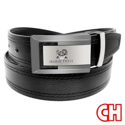 CH-BELT流行時尚荔枝紋造型紳士扣皮帶腰帶(黑)
