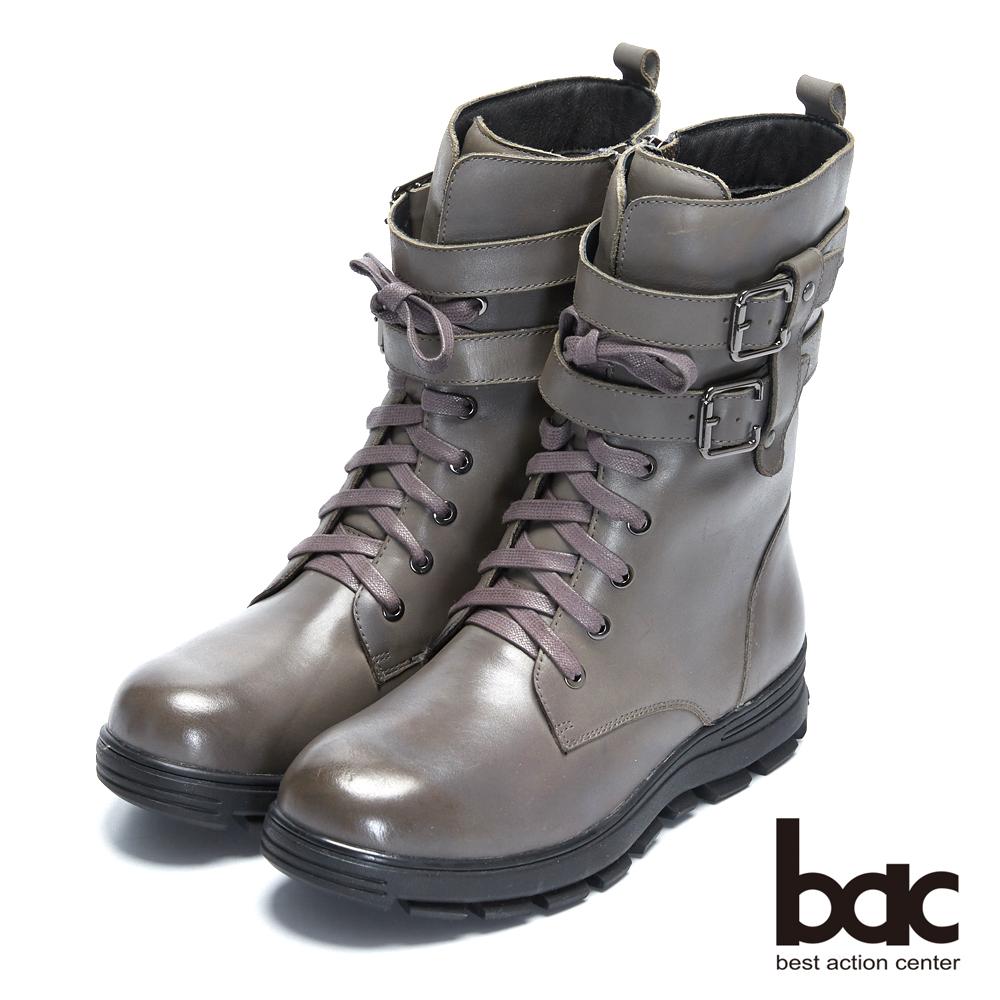 【bac】時尚玩家 -中性風厚底扣環綁帶登山靴軍靴