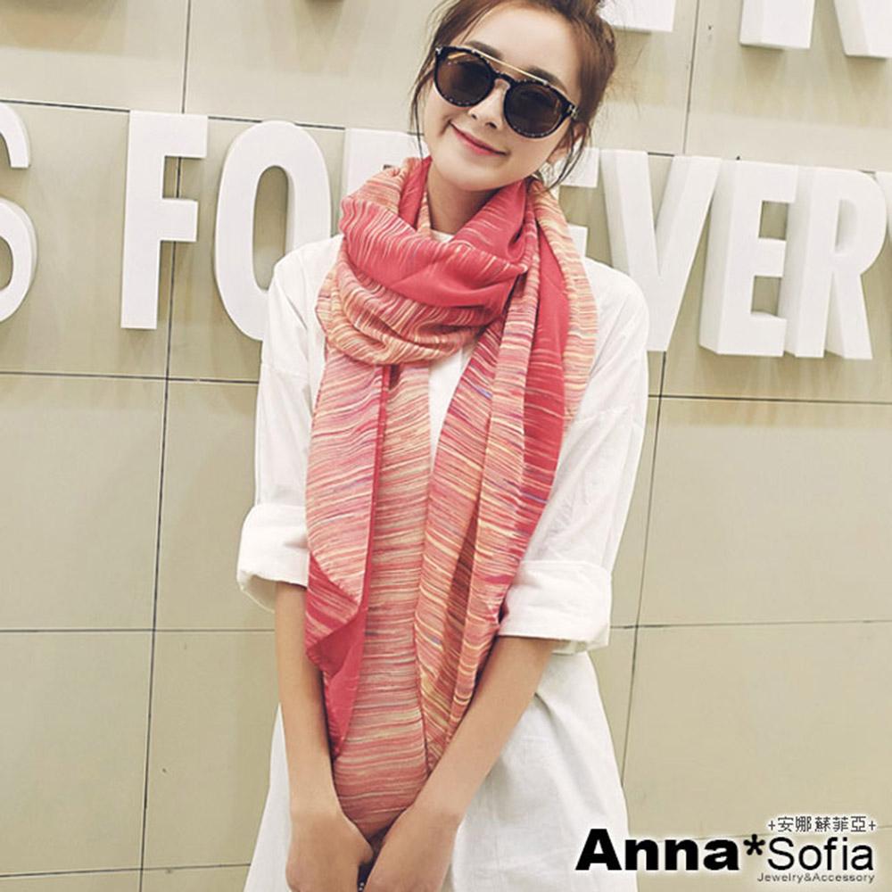 【滿額75折】AnnaSofia 絢彩流線 拷克邊韓國棉圍巾披肩(洋紅色)