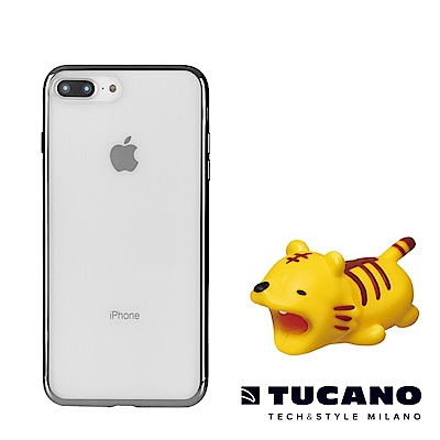 TUCANO iPhone7/8全機防護組合(防撞保護套+動物園咬線器隨機款)