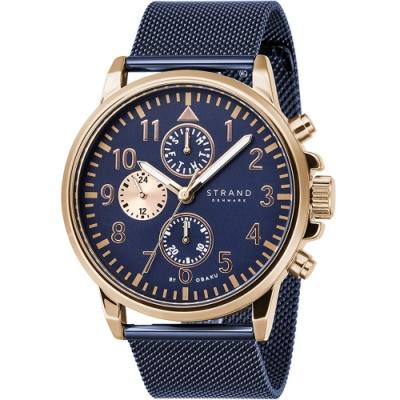 STRAND 丹麥海之星-大三眼米蘭帶飛行腕錶 /玫瑰金藍-46mm(S714GMVLML)